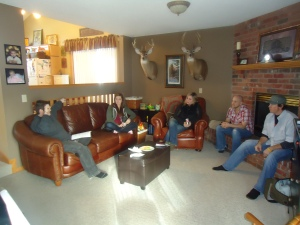 Part of the team, chillin' in my living room - I think the deer heads hanging on the wall really set the tone for all the talk about departed spirits.
