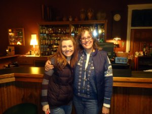 Posing in front of the bar - no wonder ghosts like us so much - look how stinkin' cute we are!!