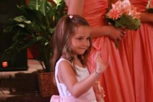 Ella, age 5, quite possibly the cutest flower girl ever!!